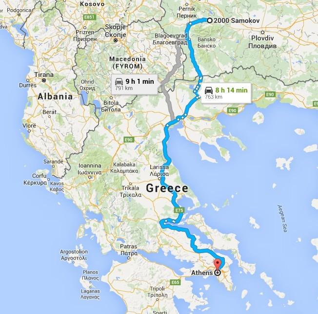 Samokov - Athens 474miles