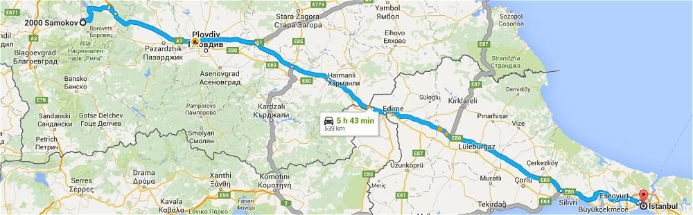Samokov - Istanbul 335miles